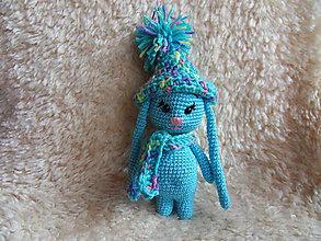 Hračky - Milý zajačik s dlhými uškami :-) (Tyrkysová) - 10553581_