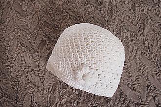 Detské čiapky - biela čiapočka - 10555458_