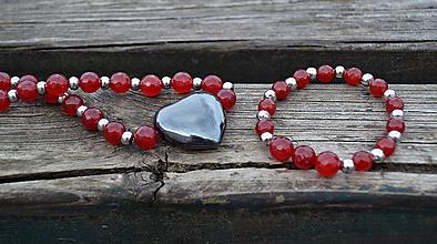 Sady šperkov - Sada Srdce náhrdelník a náramok - 10553310_