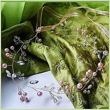 Ozdoby do vlasov - Venček s ružovými perličkami - 10554853_