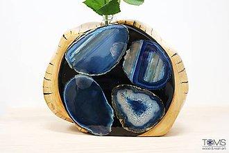 Dekorácie - Váza s achátovými plátkami - 10555608_