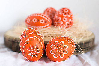 Dekorácie - Slepačie kraslice - oranžové - 10555259_