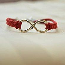 Náramky - Nekonečný náramok červený, čierny, biely, modrý - 10555249_