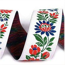 Galantéria - Folklórna, ľudová, krojová stuha 3,5 cm šírka, vzorovka biela - 10555265_