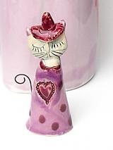 Dekorácie - mačka figúrka ružová - 10554305_