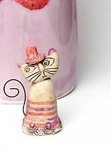 Dekorácie - mačka figúrka  staro ružová s pásikom - 10554338_