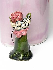 Dekorácie - mačka figúrka zelená - 10554330_