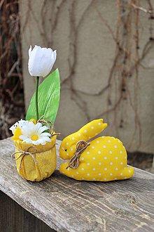 Dekorácie - Sada zajko + tulipán (Žltá) - 10555899_