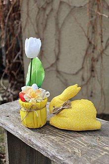 Dekorácie - Sada zajko + tulipán (Žltá) - 10555904_