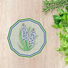 Pomôcky - Podšálky kvetové (imitácia látky - belasé kvety) - 10554484_