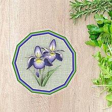Pomôcky - Podšálky kvetové (imitácia látky - indigo kvety) - 10554485_