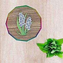 Pomôcky - Podšálky kvetové (imitácia drevo - belasé kvety) - 10554486_