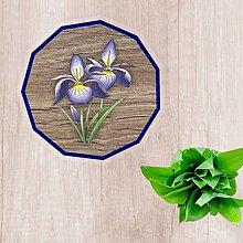 Pomôcky - Podšálky kvetové (imitácia drevo - indigo kvety) - 10554488_