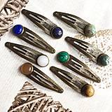 Ozdoby do vlasov - Malachite Bronze Hairpin / Sponka do vlasov so synt. malachitom /2050 - 10556165_