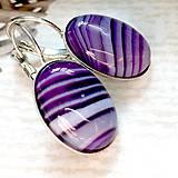 Náušnice - Violet Agate French Clasp Earrings / Náušnice s fialovým achátom v platinovom prevedení  - 10557779_