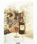 Papier - Ryžový papier na decoupage -A4-R980- hrozno, víno, fľaša - 10556837_