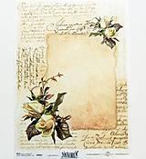 Papier - Ryžový papier na decoupage -A4-R501- ruže, vintage - 10557664_