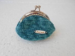 Peňaženky - Háčkovaná tyrkysová mincovka - 10556500_