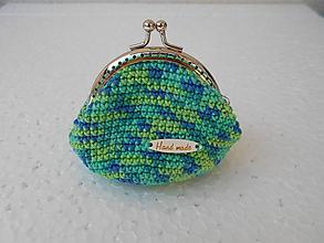 Peňaženky - Modro-zelená háčkovaná mincovka - 10556538_