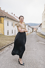 Šaty - Béžovo-čierne šaty UP - 10559002_