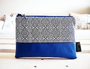 Taštičky - Kozmetická taška veľká - ornamenty v modrej - 10558321_