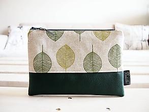 Taštičky - Kozmetická taška veľká - zelené listy - 10558399_