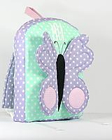 Detské tašky - RUKSAK s motylikom mentolovo - fialovy, od 2,5r. - 10557323_