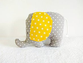 Hračky - Sloník Elliot (Sivý so žltými uškami) - 10559227_