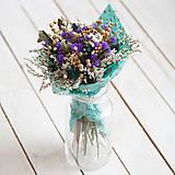 Dekorácie - Kytica sušených kvietkov fialová - 10557003_