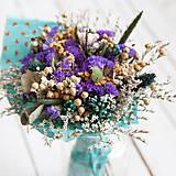 Dekorácie - Kytica sušených kvietkov fialová - 10557004_