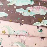 Textil - čarovná noc (so zlatotlačou); 100 % bavlna, šírka 160 cm, cena za 0,5 m - 10556778_