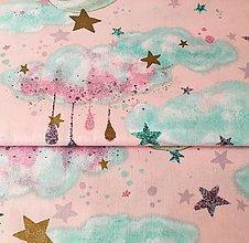 Textil - čarovná noc (so zlatotlačou); 100 % bavlna, šírka 160 cm, cena za 0,5 m (Ružová) - 10556763_