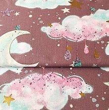 Textil - čarovná noc (so zlatotlačou); 100 % bavlna, šírka 160 cm, cena za 0,5 m (Fialová) - 10556792_
