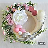 Dekorácie - Veľkonočný veniec - Ružovo vanilkový. - 10557980_