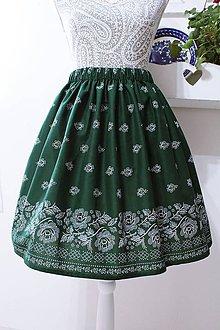 Sukne - Suknička s ľudovým motívom zelená - 10557563_