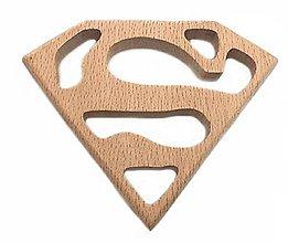 Polotovary - DZ116 Drevený znak superman 7,7 x 6,2 cm - 10558984_