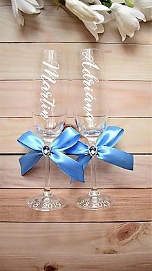 Nádoby - Svadobné poháre s menom-zvislo - 10559782_