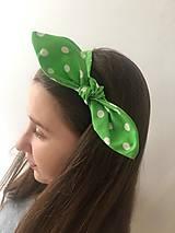 Ozdoby do vlasov - čelenka zelená bodka - 10556574_