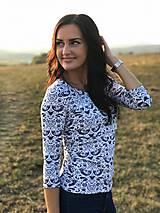 Tričká - Tričko s 3/4 rukávom - modré FOLK vtáčiky - NEKOJO VARIANTA - 10556177_