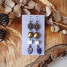 Náušnice - Antické náušnice s ornamentami, zlatá, fialová, brondz - 10559220_