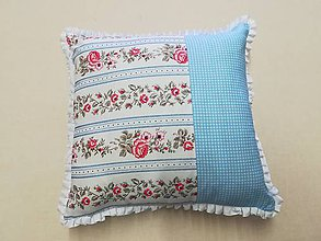 Úžitkový textil - vankúš modrý- ružičky - 10558894_