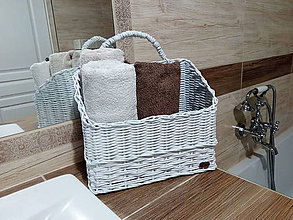 Košíky - Biely košík na uteráky - 10559952_