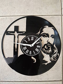 Hodiny - nástenné hodiny z lp platne Ježiš - 10557648_
