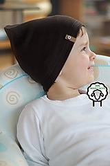 Detské čiapky - 100% merino Celoročná tenšia čiapka -čokoládová - 10557574_