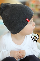 Detské čiapky - 100% merino Celoročná tenšia čiapka -antracit - 10557581_