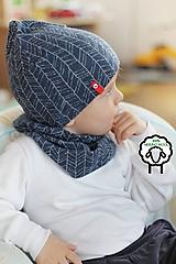 Detské čiapky - 100% merino Celoročný tenší set -modrá vzor - 10557596_