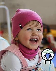 Detské čiapky - 100% merino Celoročný tenší set -ružová - 10557602_
