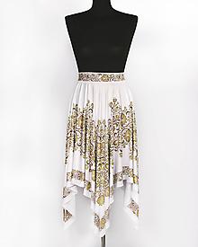 Sukne - LESANA - potlač FOLK ROSES (zlato-bronzový folk na bielej) - 10556302_