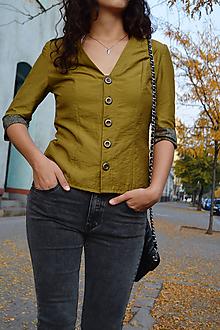 Kabáty - Zelené sako v army štýle - 10558609_