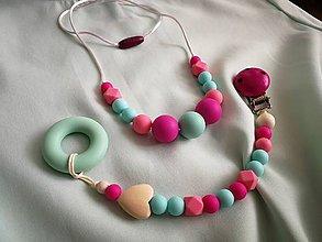 Detské doplnky - Set dojčenský náhrdelník a retiazka na cumlík